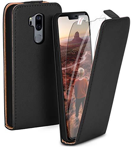 moex Flip Hülle mit Schutzfolie für LG G7 ThinQ / G7 Fit - Handytasche klappbar, Schwarz
