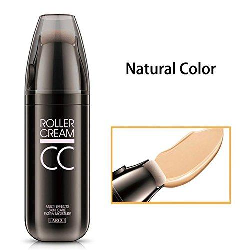 Ocamo Geburtstagsgeschenk | Freundingeschenke,CC Cream Concealer Powder Foundation mit kleinen Roller Schwamm Puff Feuchtigkeitscreme Öl-Kontrolle anhaltende Nude Make-up Natural Color 30g