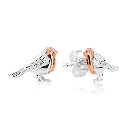 Gemma J Solid 925 Sterling Silver Robin Bird Stud Earrings with 14ct Rose Gold Breast