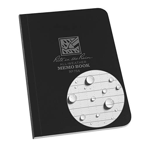 J.L. Darling Rite in The Rain Weatherproof Soft Cover Pocket Notebook, 3.5' x 5', Black Cover,...