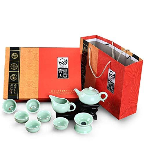 WECDS-E Tetera China Tranditional Porcelana Celadon Carpa Patrón Kung Fu Juego de té Tetera y Taza de té 9 Piezas, para Oficina en casa, Negocios