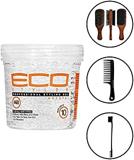 Eco Style Professional Styling Gel Krystal, 8 Ounce (Including Double Sided Edge Control Brush, Large Wide Tooth Detangling Shampoo Comb & 100% Boar 2-Sided Club Brush) Eco Styler Hair Gel