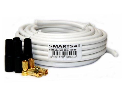 Smartsat 20m 135dB Kupfer Koaxial Kabel 8,2mm, SAT-Kabel inkl. 4 F-Steckern vergoldet und 4 Schutztüllen gratis, 20m Koaxkabel für Digitalfernsehen, Schirmungsmaß 135dB - bester Empfang für HDTV, 3D, FullHD, Ultra HD, HD 4K2K, UHDTV