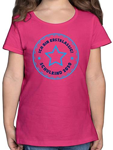 Einschulung und Schulanfang - Schulkind 2020 Ich Bin erstklassig Stern blau - 128 (7/8 Jahre) - Fuchsia - ich Bin erstklassig Tshirt - F131K - Mädchen Kinder T-Shirt