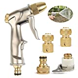 TIMESETL Pistola a spruzzo con Tubo Flessibile per Giardino ad Alta Pressione con ugello Manuale in Bronzo Pieno per Lavaggio/irrigazione Prato e Giardino (con 4 connettori in Rame)