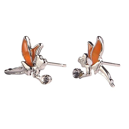 Ohrstecker Ohrring Tinkerbell (orange & Silber) Made mit Emaille und Zinn Legierung von Joe Cool