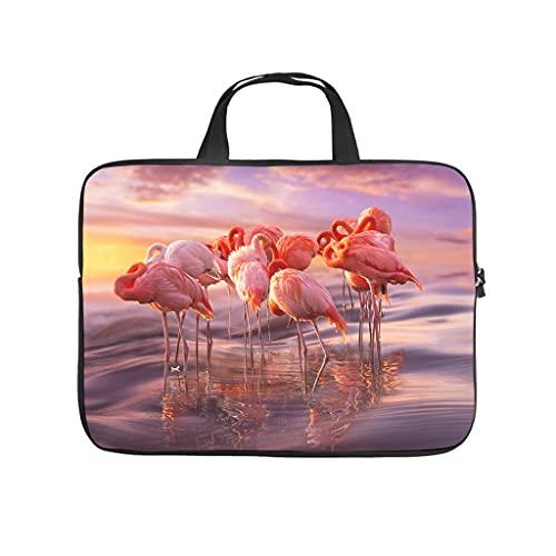 Facbalaign Laptoptasche Flamingo und Sonnenuntergang Aktentasche Langlebig Kratzfest mit Griff White 12 Zoll