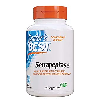 Doctor s Best Serrapeptase Non-GMO Gluten Free Vegan Supports Healthy Sinuses 40,000 SPU 270 Count  Pack of 1