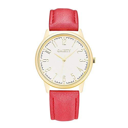 Reloj de pulsera GAIETY para mujer, moda, simplicidad, números árabes, esfera redonda, bisel dorado, correa de PU de 7 colores, reloj de pulsera para niñas