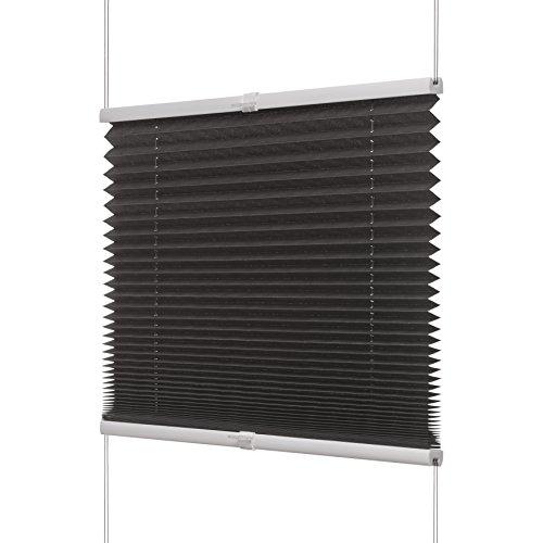 Ventanara Plissee ohne Bohren Anthrazit Klemmfix Plisseerollo Faltrollo verspannt inklusive Premium Klemmträger 70 x 130 cm