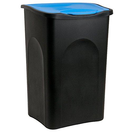 Stefanplast® Mülleimer 50L mit Klappdeckel schwarz/blau - Abfalleimer Abfallbehälter Müllbehälter Papierkorb Abfallsammler made in Italy