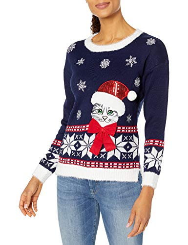 Blizzard Bay Women's Ugly Christmas Cat Sweater, Midnight Blue, Large