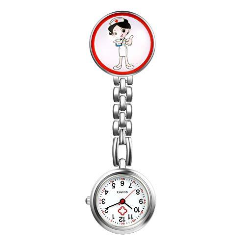 LANCARDO Uhren, Silikon Krankenschwester Armbanduhr FOB-Uhr Damen Taschenuhr Analog Quarzuhr aus Legierung für Doktor Krankenschwester Pfleger (Typ6)