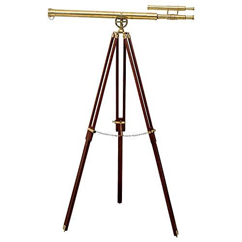 aubaho Doppel-Teleskop Fernrohr Fernglas Messing mit Holz-Stativ 160cm Antik-Stil