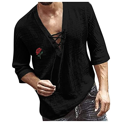 Camiseta de manga larga para hombre, estilo informal, con estampado de plumas, cuello en V, camiseta estampada, parte superior de media manga para atar B_negro. L