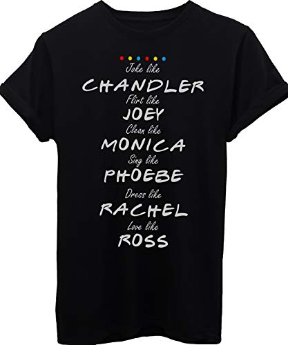 iMage T-Shirt Friends Nomi dei Personaggi E Loro Caratteristiche-Serie TV - Donna-L-Nera