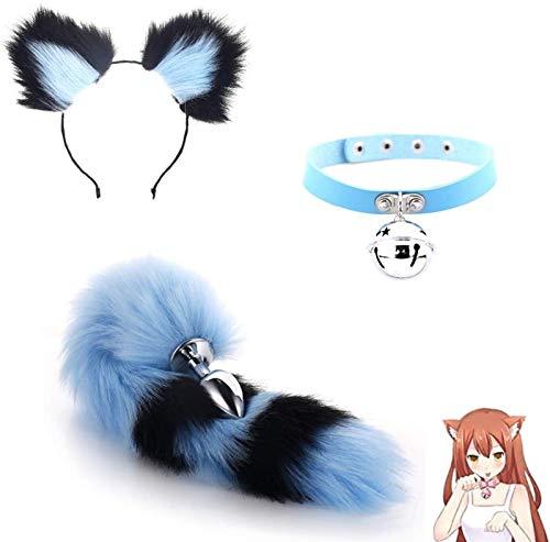 EIN □ l Hintern t □ yf □ Tish s □ x 3Pcs / Set Fluffy Fuchsschwanz B-Ütt P-l- □ -g Katze-Ohr-Stirnband-Kragen-Halskette for Cosplay Rollenspiele Halloween Spielzeug