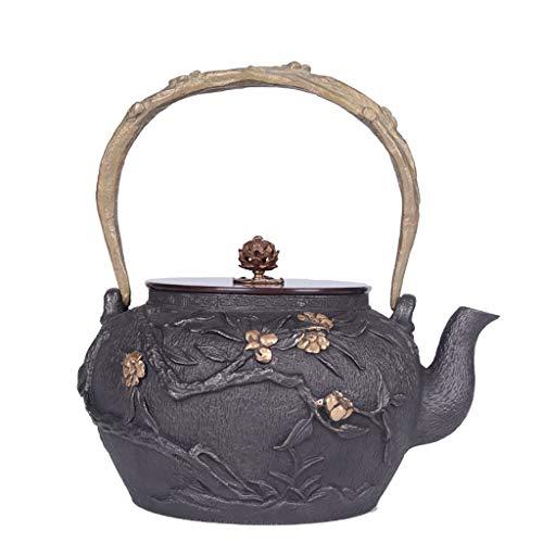 Q-HL Teteras hierro fundido Juegos de té Café Tetera De Hierro Fundido, Estilo Japonés Tetsubin Tetera 1.2L |Tetera de hierro fundido para mantener el té caliente |patrón de floración hervidor de hier
