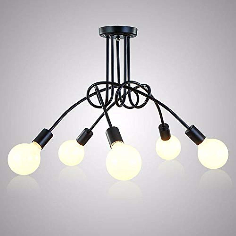 5151BuyWorld Lampe Deckenleuchten Vintage Decken Kreative Persnlichkeit Beleuchtung Schwarz Deckenleuchten Leuchten Wohnzimmer Luminaria Kronleuchter Top Qualitt {5 Kpfe}