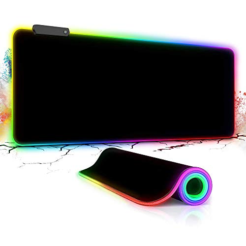 RGB Gaming Mouse Pad Large, Yeemie Computer Keyboard Mouse 12 LED Modes Mat with Durable Stitched Edges and Non-Slip Enhance Gaming Experience 31.5X 11.8 inch