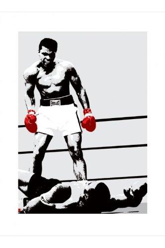 empireposter Ali, Muhammad Rote Boxhandschuhe Kunstdruck schwarz-Weiss Foto Boxkampf Sport Muhamed Ali 60x80 + 2 St Posterleisten Kunststoff 62 cm schwarz