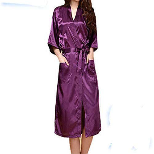 Krönung Satin Kleid Simulation Seide Damen Pyjama Sommer einfarbig Seide lange Bademantel Bademantel Strickjacke Deep Purple L
