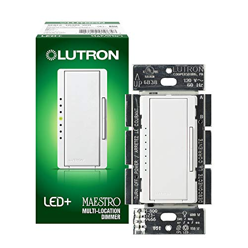 Lutron Maestro LED+ Dimmer for Dimmable LED, Halogen and Incandesent Bulbs | Single-Pole or Multi-Location | MACL-153M-WH | White