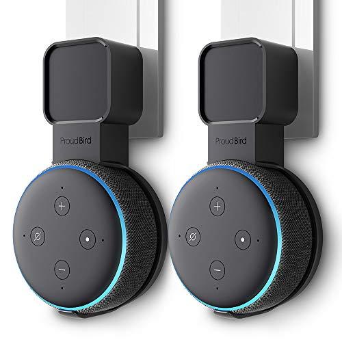 P5+ Wandhalterung Ständer für Dot (3. Gen.), Eine Platzsparende Lösung für Smart Home Lautsprecher, Speaker Zubehör Halterung mit Kabelanordnung, Keine Unordentlichen Drähte (Schwarz-Doppelpack)