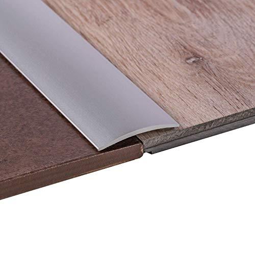 Gedotec Übergangsprofil Laminat - Vinyl Übergangs-Schiene gelocht Bodenprofil gewölbt | Türschwelle zum Schrauben | Alu Silber eloxiert | Profil 50 x 2000 mm | 1 Stück - Ausgleichsprofil Aluminium