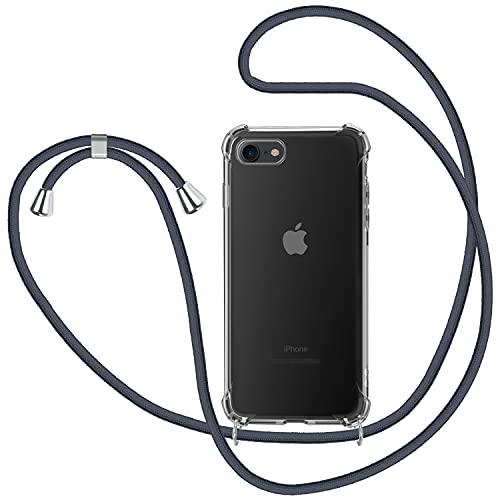 Funda con Cuerda para Apple iPhone 7/ iPhone 8/ iPhone SE 2020, Carcasa Transparente TPU Suave Silicona Case con Correa Colgante Ajustable Collar Correa de Cuello Cadena Cordón - Gris