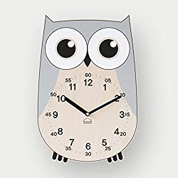 BEZIT Non-Ticking, Silent 11-Inch Wall Clock – Decorative, Modern, Clean, Cute, Kid-Friendly Design for Indoor, Office, Home, Baby Room (Grey Owl)
