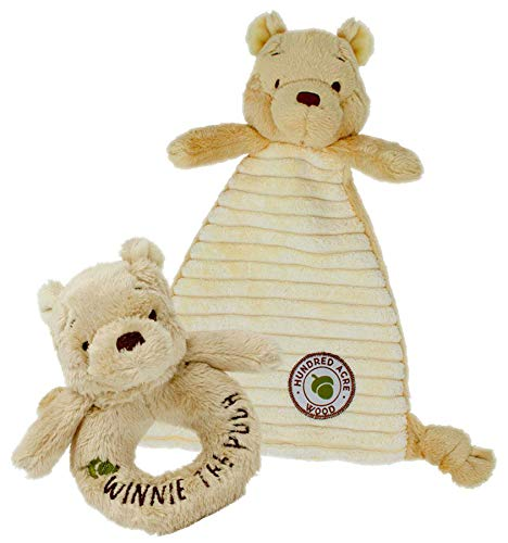 Rainbow Designs Ensemble-Cadeau Douillette et hochet Classique pour bébé Winnie l'ourson