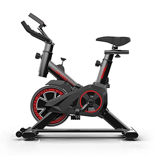 LFANH Indoor Cycling La Bicicleta Estática, Bicicleta Estática Vertical del Volante De Bicicletas con 4 Kg Resistencia del Volante, LCD, Tasa De Sensores del Corazón, Asiento Ajustable