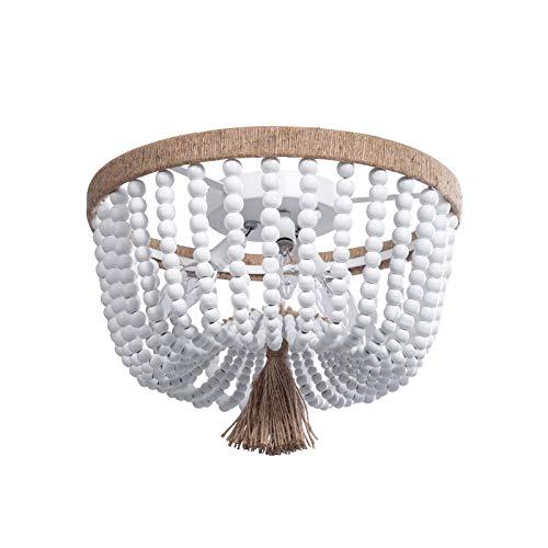 KJLARS Iluminación de techo de interior lámpara de estilo rústico cuentas de madera lámpara colgante antigua para cocina sala de estar comedor dormitorio 36 cm * 28 cm E14 * 3 (cuerda de cáñamo)