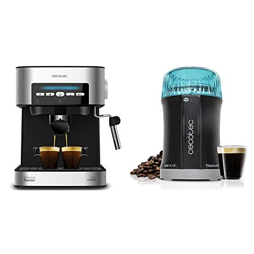 Cecotec cafetera express digital power espresso 20 matic para espresso y cappuccino, de 20 bares & molinillo de café y especias titanmill 200. Cuchillas recubiertas de titanio
