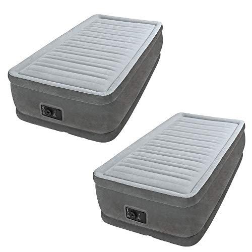 Intex Comfort Dura Beam Elevated Twin Air Mattress w/Built in Pump (2 Pack)