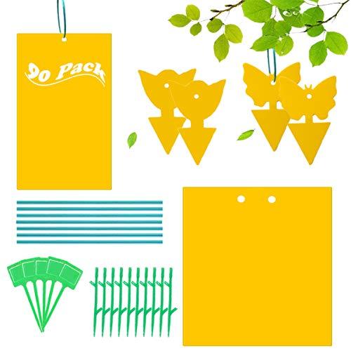 MQIAN 90 Stück Fliegenfalle Gelbsticker, Gelbsticker Gelbfalle,Sticker Fliegen, Gelbtafeln Fliegenfallen Fliegenfalle Gelbstecker für Pflanzen auf dem Balkon oder Im Garten