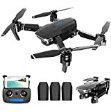 Daily Accessories Drone with Dual Cameras 1080P HD Front Camera and 720P Bottom Camera Optical Flow Positioning Foldable WiFi Drone Gesture Photos/Video Follow MeQuadcopter