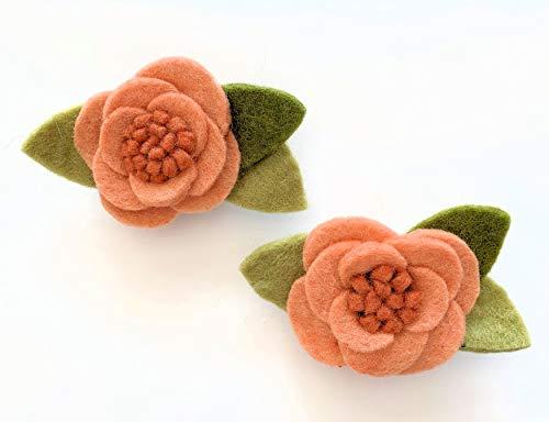 Cartissimi 2 Größere Blush-Apricot Schicke Filz-Blumen mit Blättern | Prima für Filz-Bastel-Projekte und Blumen-Girlanden