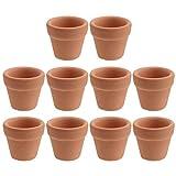 OUNONA - Macetas de terracota de tamaño mini, 3 cm, con agujero de drenaje, para vivero, cactus y plantas suculentas, 10 unidades