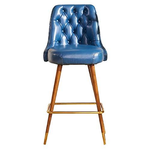 JQQJ barkruk, industrieel, met voeten van massief hout en koper, barkruk, hoge kruk 53x57x110cm Blauw