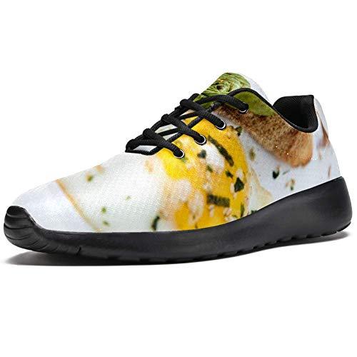 TIZORAX Laufschuhe für Herren, Ei, Brot, Frühstück, modische Sneakers, Netzstoff, atmungsaktiv, Mehrfarbig - mehrfarbig - Größe: 37 1/3 EU