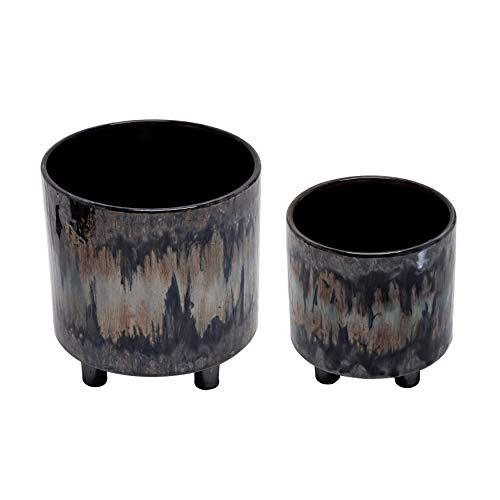 Sagebrook Home 13870-05 Macetas de cerámica con pies de 9/6', arcoíris (juego de 2), 8.5 x 8.5 x 8.5 pulgadas, Multi