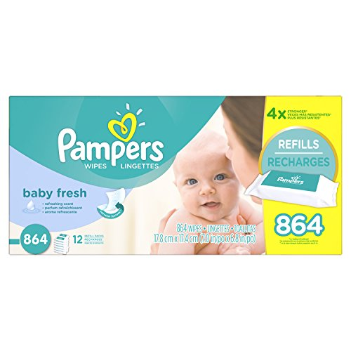 Pampers Baby Fresh Water Baby Wipes 12X Refill Packs, 72 Count (Pack of 12)