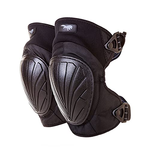 HAGOR Protective Knee Pads Military Grade with Comfortable Gel Cushion, Strong Double Straps and Adjustable Easy-Fix Clips - For Shooting and Outdoors (Black)