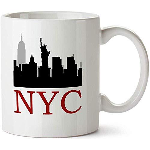 Taza de café de porcelana colorida de Nyc Silhouette View - 11 oz - - Gran regalo para novio, familia y amigos