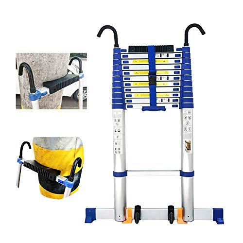 Escalera telescópica azul para mantenimiento de edificios con ganchos,escalera de extensión de aluminio para trepar de 16,5 / 20/22 pies de altura con barra estabilizadora y ruedas (tamaño: 6,6 m /