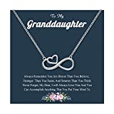Granddaughter Necklace from Grandma, Silver Infinity Heart Necklace, Granddaughter Jewelry Gifts for Little Girls from Grandma Graduation Back to School Birthday Chirstmas Gifts for Girls Granddaughter