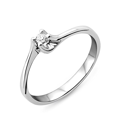 Miore Anello Solitario 4 griffe in 9 kt oro bianco 375/1000 con diamante de 0.04 ct