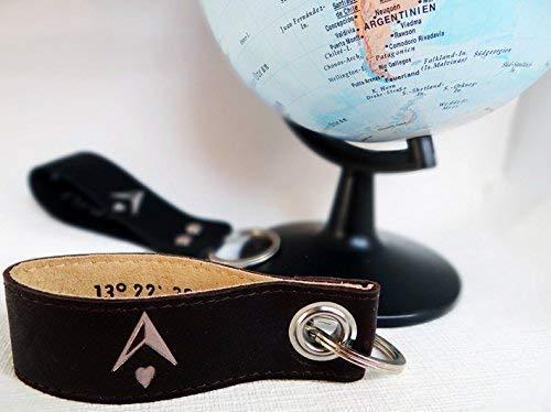 Schlüsselanhänger mit Koordinaten
